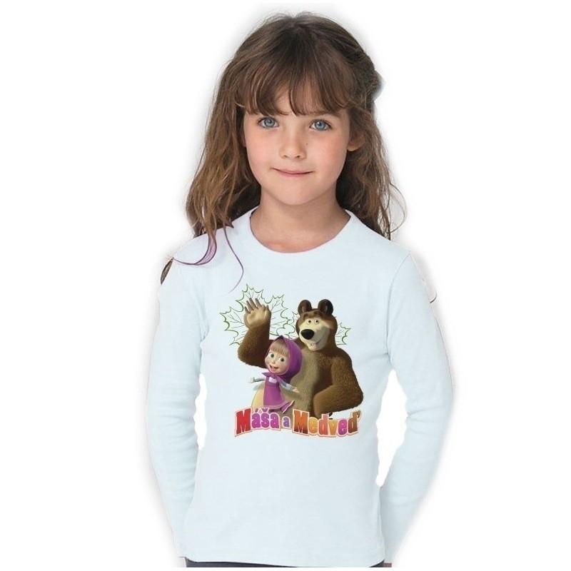 Detské tričko Máša a medveď biele