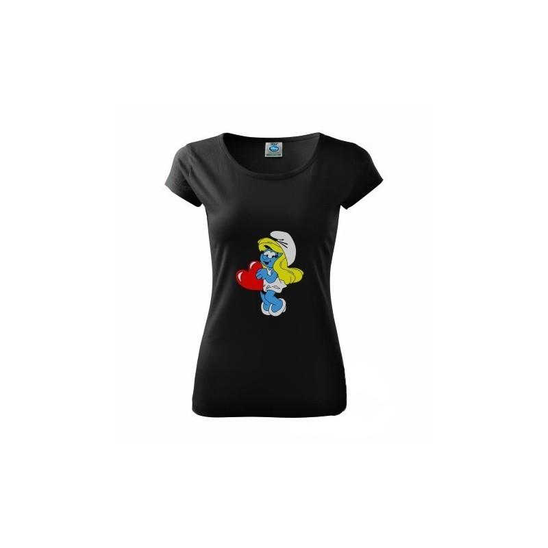 1dc3313e3887 Dámske tričko čierne Šmolkovia